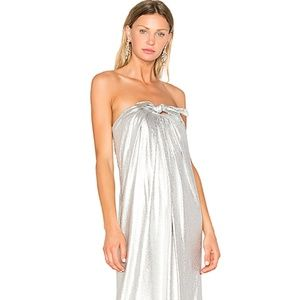 NWT Strapless Metallic Jersey Gown With Tie Front